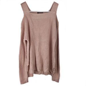 5/$25 Hooked Up Ribbed Cold-Shoulder Sweater XS